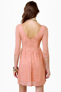 Just Peachy Dusty Peach Lace Dress at Lulus.com!