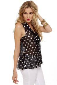 Dot-tle Rocket Navy Blue Polka Dot Top at Lulus.com!