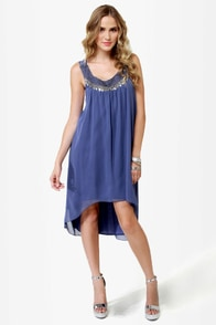 Bead You Now Beaded Slate Blue Dress
