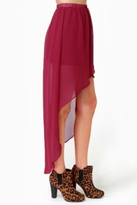 Fall for It High-Low Wine Red Skirt at Lulus.com!
