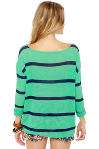 Believe the Hype Striped Mint Green Sweater at Lulus.com!