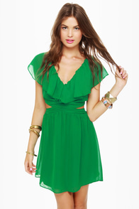 Ruffle, Shuffle, and Roll Green Dress