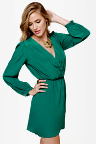 That's a Wrap Emerald Green Long Sleeve Dress at Lulus.com!