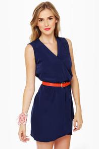Mind the Wrap Sleeveless Navy Blue Dress at Lulus.com!