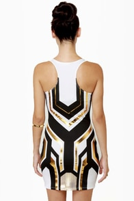 Mara-Tron Race White Print Dress at Lulus.com!