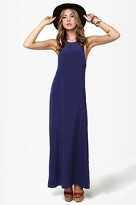 Give 'em the Slip Navy Blue Maxi Dress