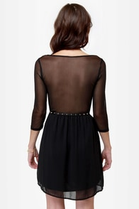 Rest A-Sheer-ed Black Dress at Lulus.com!