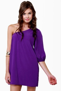 B-Sides One Shoulder Purple Dress