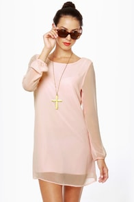 Dinner for Two Light Pink Shift Dress