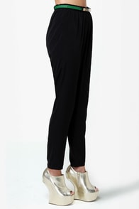 High-Waisted Hopes Black Pants at Lulus.com!