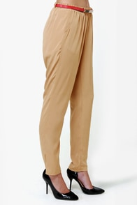 High-Waisted Hopes Beige Pants at Lulus.com!