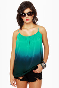 Ombre-ging Rights Teal Tank Top at Lulus.com!