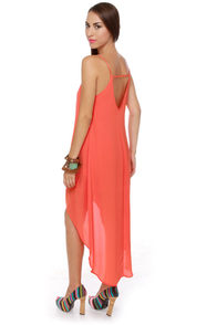 Point Break High-Low Coral Dress at Lulus.com!