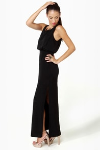Whatchama-Column Black Maxi Dress