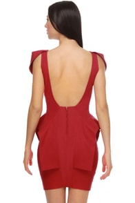 Peppy Peplums Scarlet Red Dress at Lulus.com!