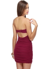 Hot Stuff Strapless Maroon Dress