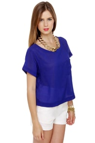 Heli-Cropped-Her Sheer Blue Top at Lulus.com!