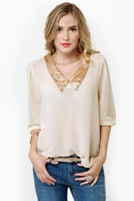 Life and Shines Cream Sequin Top at Lulus.com!