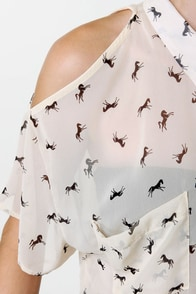 Mustang Sally Sheer Horse Print Top