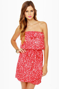 Lucy Love Jerry Hall Strapless Red Star Print Dress