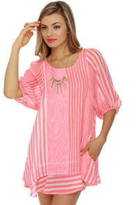 Lucy Love Gabriella Striped Coral Pink Dress