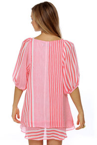 Lucy Love Gabriella Striped Coral Pink Dress at Lulus.com!