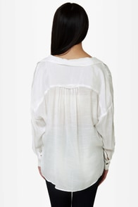 Lucy Love Jamison Sheer White Top at Lulus.com!