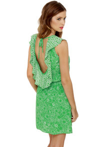 Lucy Love Breanne Green Print Dress