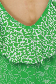 Lucy Love Breanne Green Print Dress at Lulus.com!