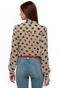 Eat Your Heart Out Beige Print Top