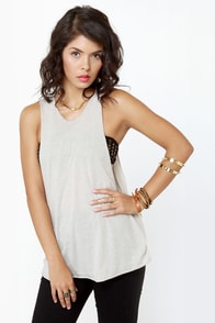 Cut a Cross Heathered Beige Tank Top at Lulus.com!