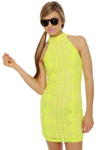 Groovy Girlie Neon Yellow Halter Dress