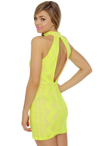 Groovy Girlie Neon Yellow Halter Dress at Lulus.com!