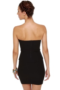 Polite to Point Strapless Black Dress at Lulus.com!