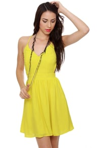 Evening News Backless Neon Yellow Dress at Lulus.com!