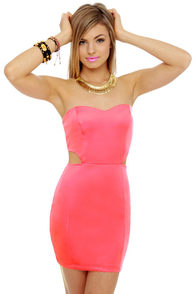 Cutting In Strapless Neon Pink Dress at Lulus.com!