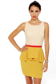 Scene It Yellow Color Block Dress