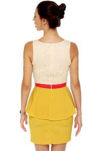 Scene It Yellow Color Block Dress at Lulus.com!