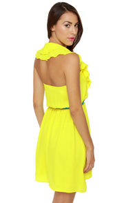 Ocean View Yellow Halter Dress