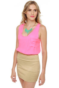 Paint Can Do Beige and Neon Pink Dress at Lulus.com!