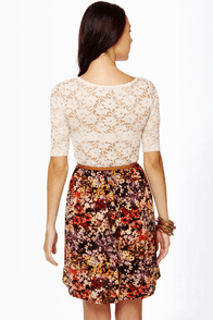 Fleur du Jour Lace and Floral Print Dress
