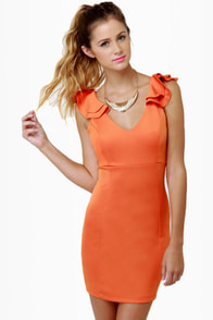Frillseeker Orange Dress at Lulus.com!