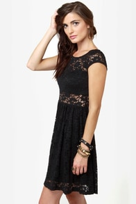 Sheer and There Black Lace Dress at Lulus.com!
