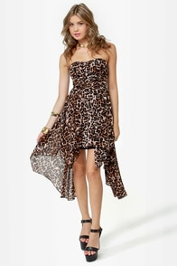 Divine Feline Strapless Leopard Print Dress