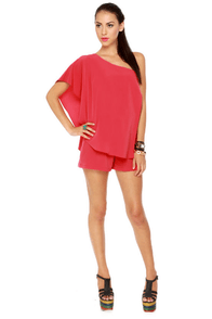 Magnificent Matador One Shoulder Coral Red Romper
