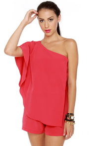 Magnificent Matador One Shoulder Coral Red Romper at Lulus.com!