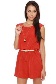 Caped May Backless Red Romper at Lulus.com!