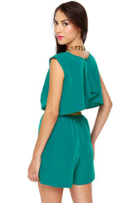 Caped May Backless Teal Romper