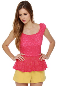 Lace Makes Waist Fuchsia Pink Top at Lulus.com!