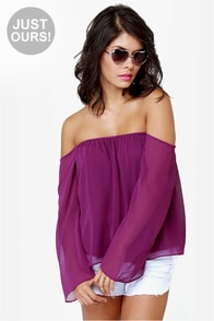 Landslide Off-the-Shoulder Purple Top